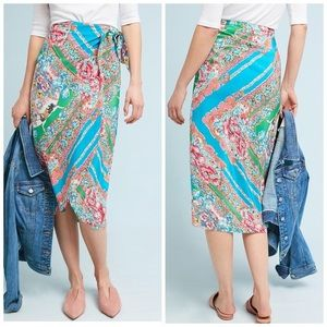 Anthropologie Maeve   Bette Silk Blend Wrap Skirt